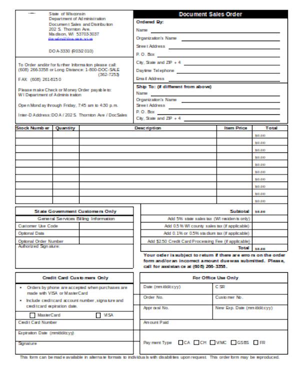 document sales order form