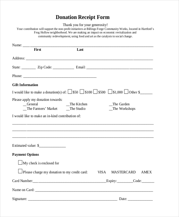 donation receipt form