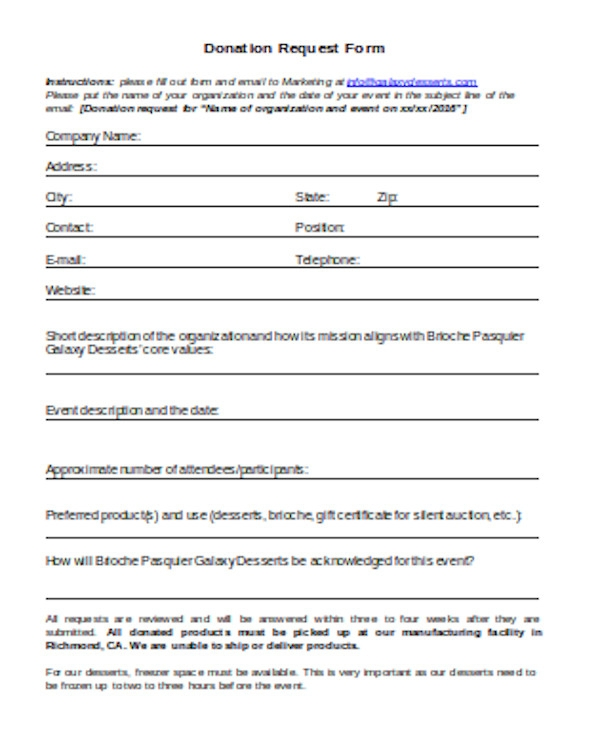donation request form sample
