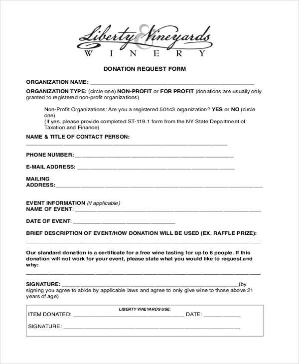 donation request letter form