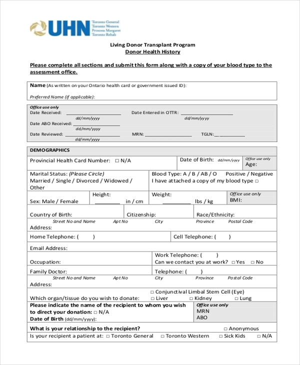 donor health history form