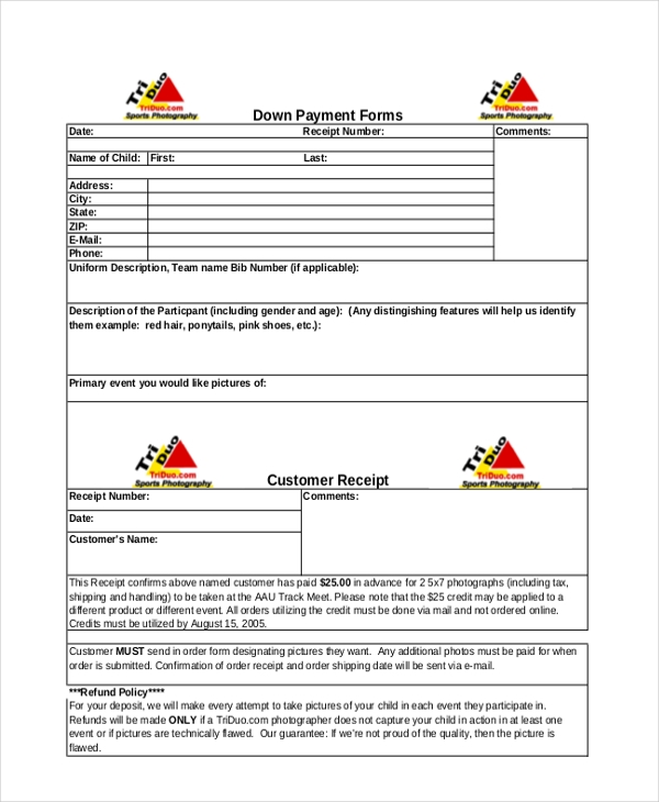 Exceptional Down Payment Receipt Form