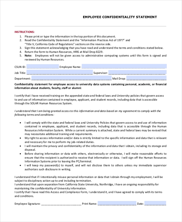 Sample Employee Statement Form - 10+ Free Documents In Word, Pdf