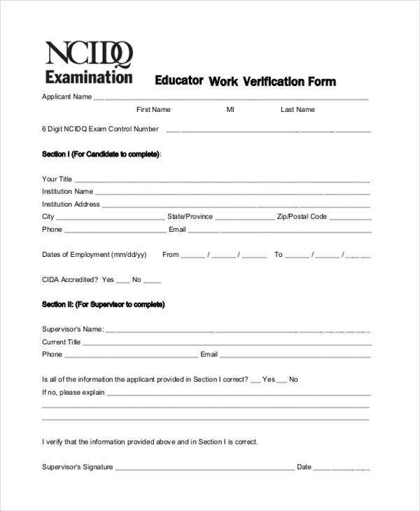 Educator Work Verification Form