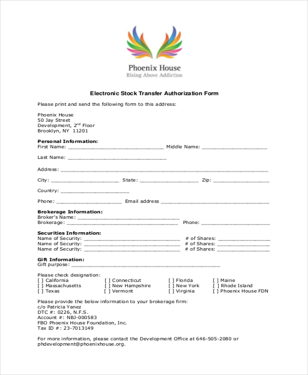 electronic stock transfer form