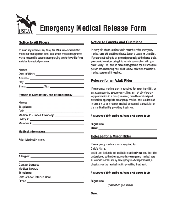 Sample Medical Release Form 11 Free Documents in word PDF – Medical Release Form Sample