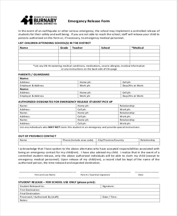 emergency release form