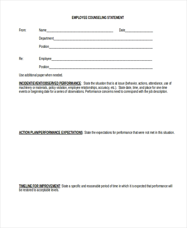 Employee Counseling Form Template Pictures to Pin – Employee Counseling Form