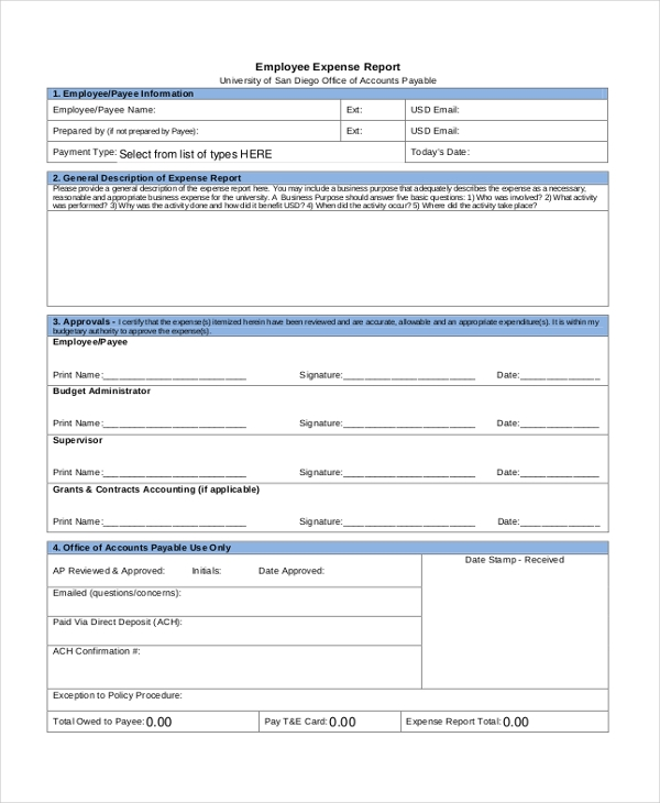 sample expense report form 13 free documents in pdf doc