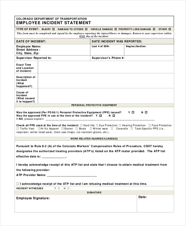 Sample Employee Statement Form   Free Documents In Word Pdf