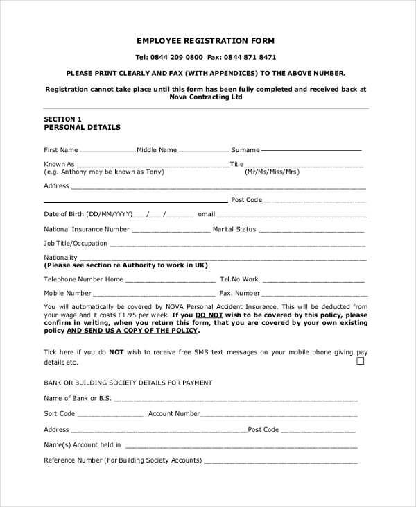 Sample Registration Form 21 Free Documents in PDF – Employee Registration Form