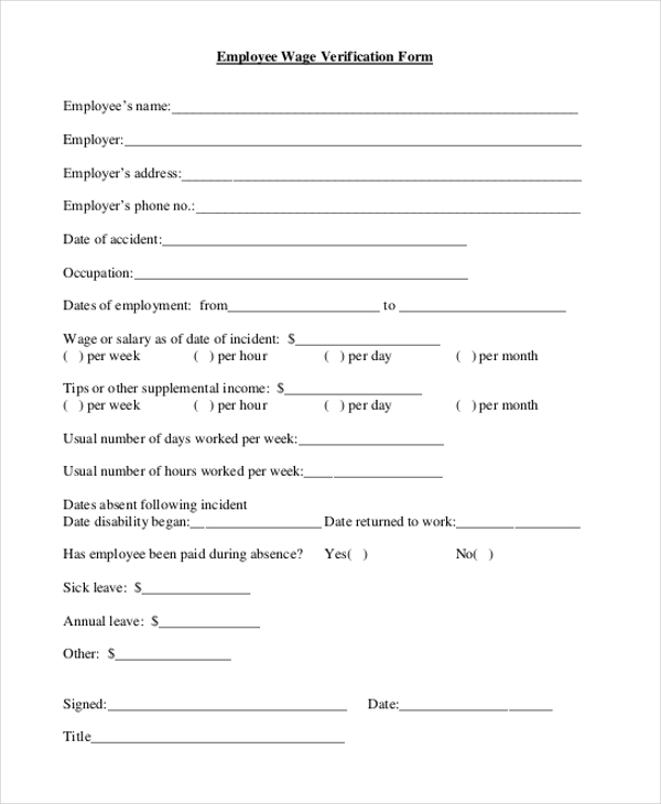 Sample Wage Verification Form   Free Documents In Pdf