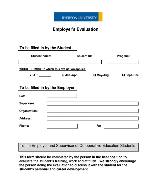 employer evaluation form