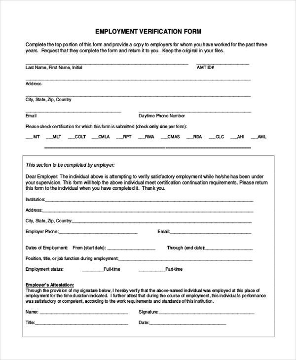 Employment Verification Form Sample