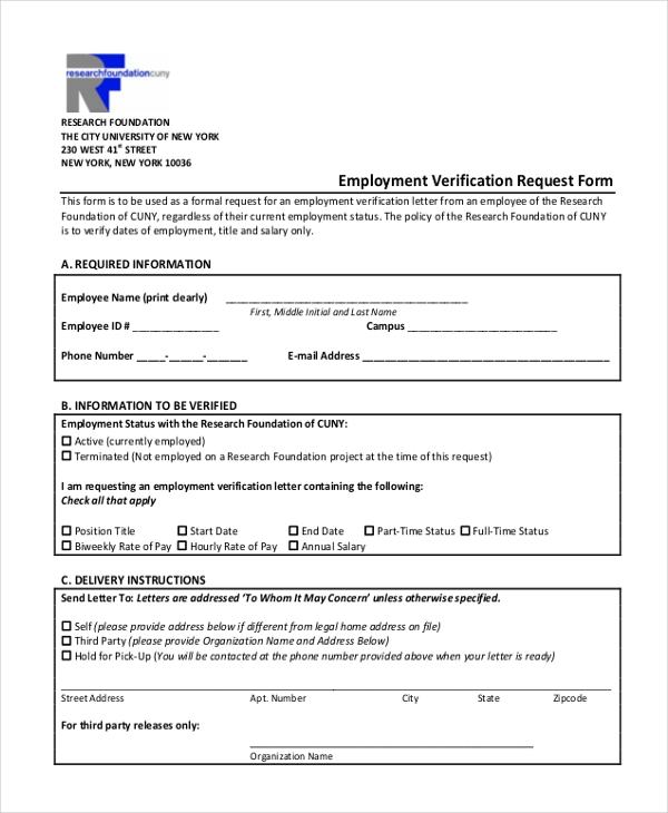Sample Employment Verification Form 13 Free Documents in PDF – Sample Employment Verification Form