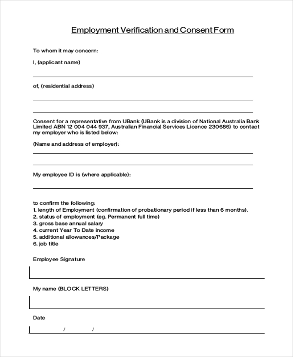 Employment Verification And Consent Form  Previous Employment Verification Letter