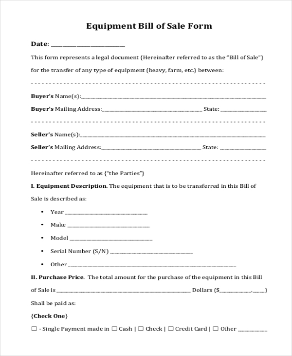 Sample Bill Of Sale Form   Free Documents In Word Pdf