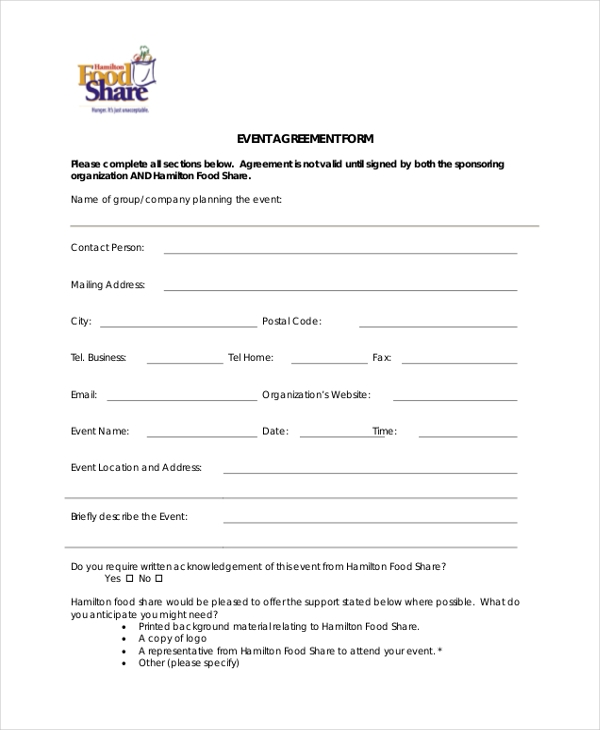 event agreement form