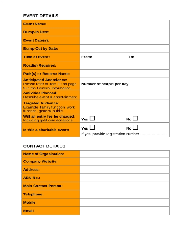 Sample Event Form   Free Documents In Pdf Doc