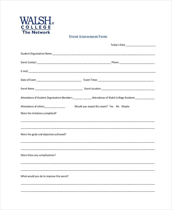 event assessment form