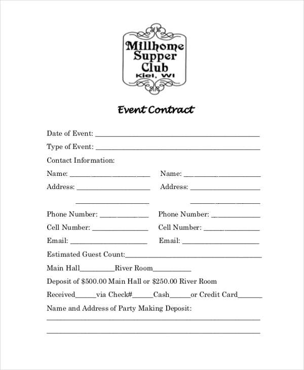 event contract form
