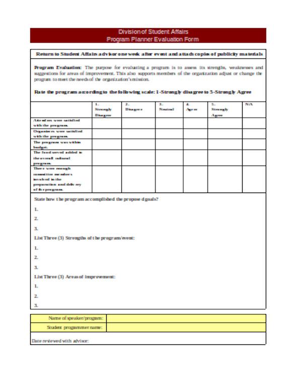 event planner evaluation form1