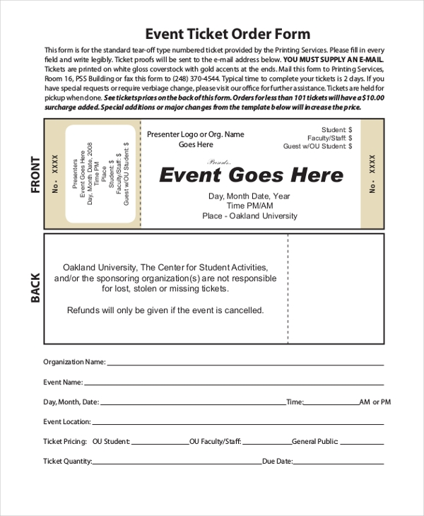 Sample Event Order Form   Free Documents In Word Pdf