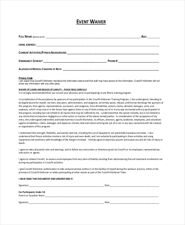 event waiver form