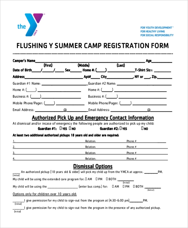 free 12  sample summer camp registration forms in pdf