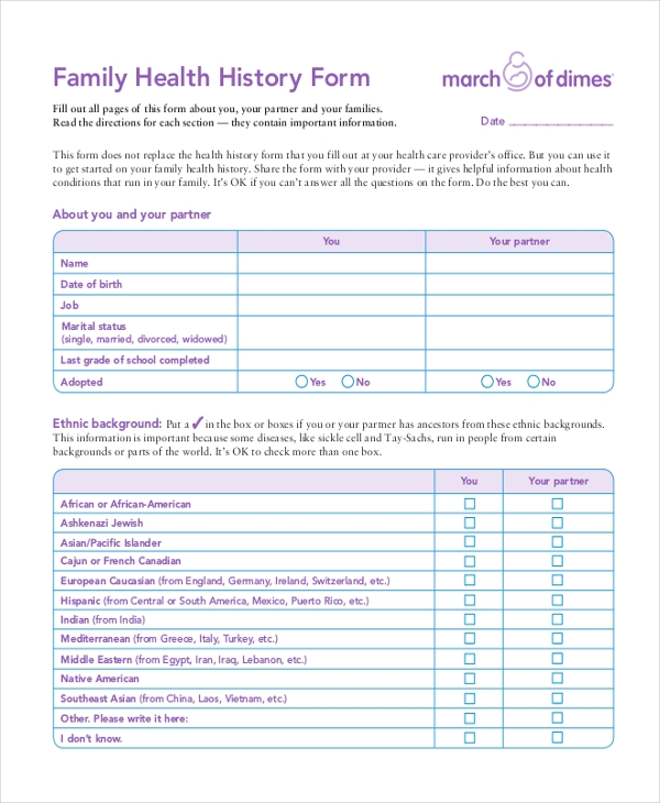 Sample Health History Form   Free Documents In Pdf
