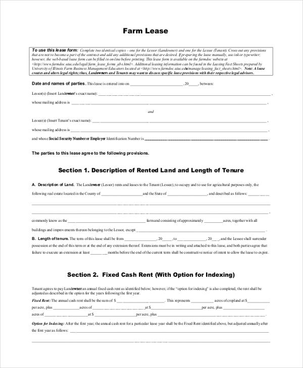 farm lease form