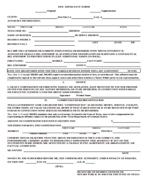 fee affidavit form