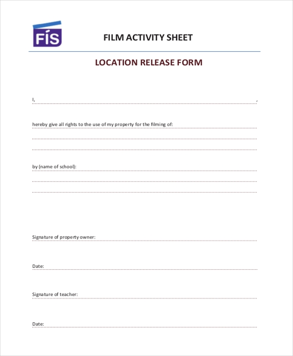 film location release form