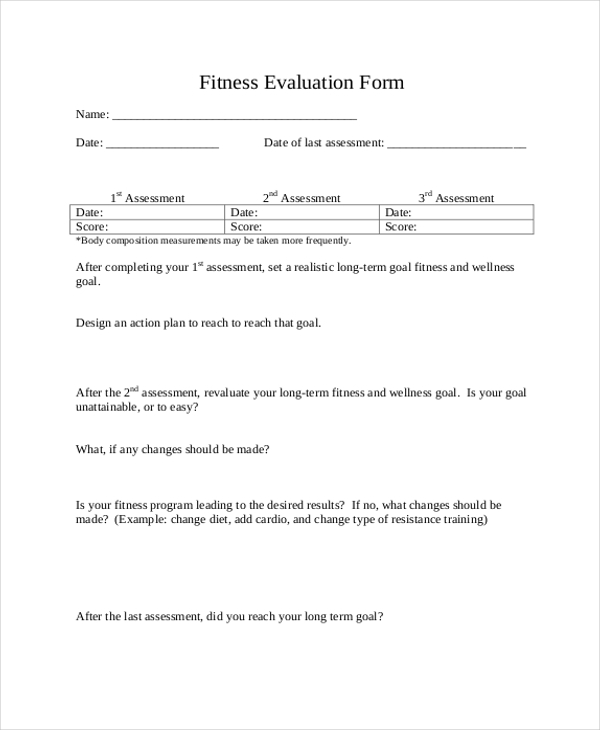 fitness evaluation form