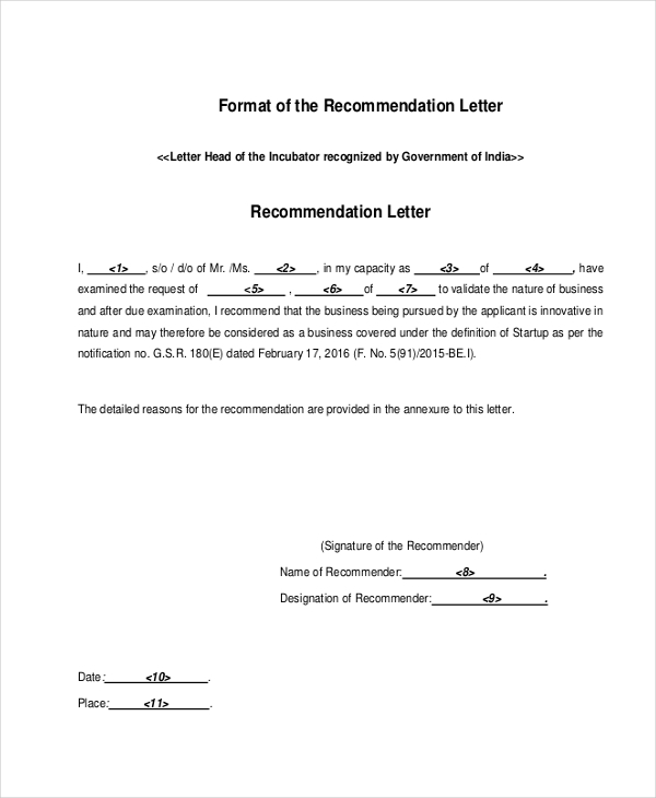 formal recomadation letter