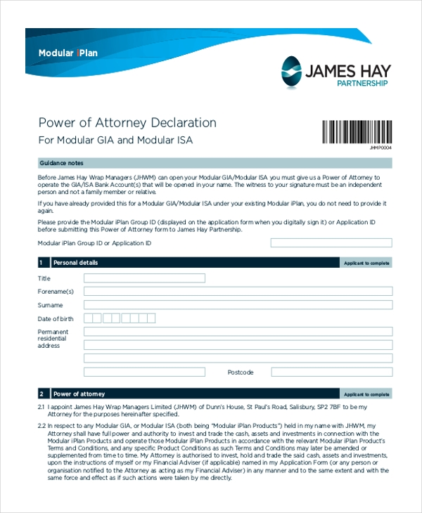 full power of attorney form