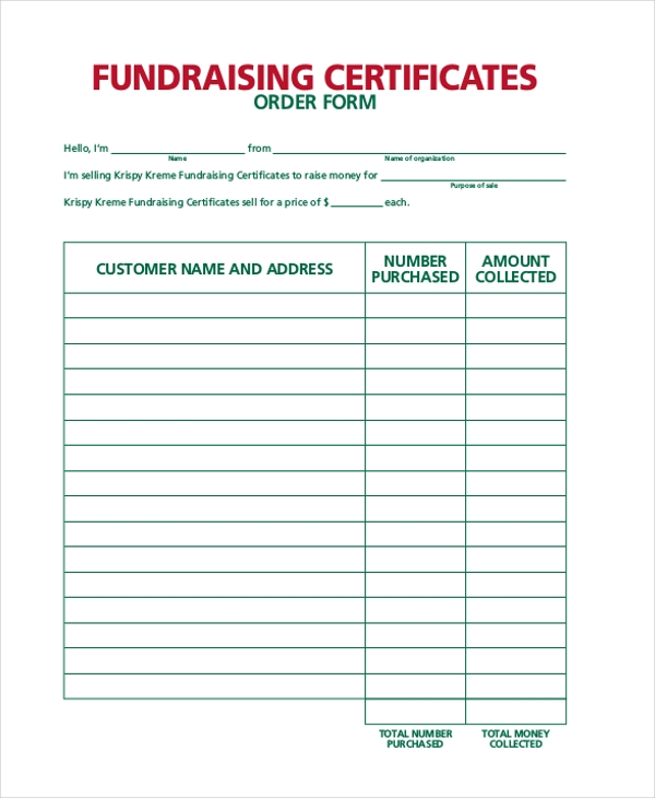 Sample Fundraiser Sales Order Form