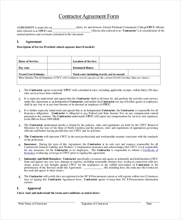 Sample Contractor Agreement Form   Free Documents In Word Pdf