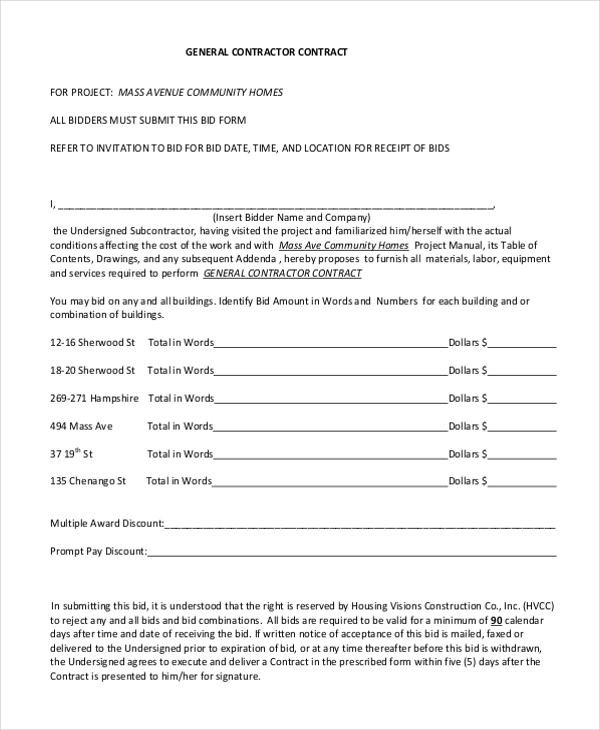 general contractors contract template - sample contractor contract form 7 free documents in pdf