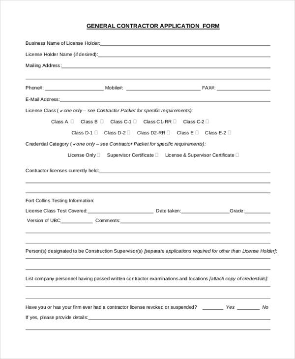 general contractor form