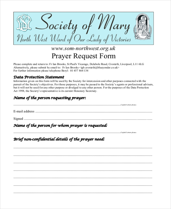 generic prayer request form