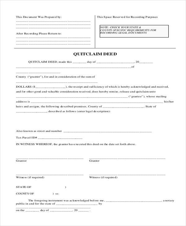 Sample Quick Claim Deed Form 7 Free Documents in PDF – Quit Claim Deed Pdf