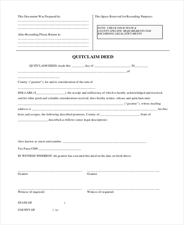 Sample Quit Claim Deed Form   Free Documents In Word Pdf