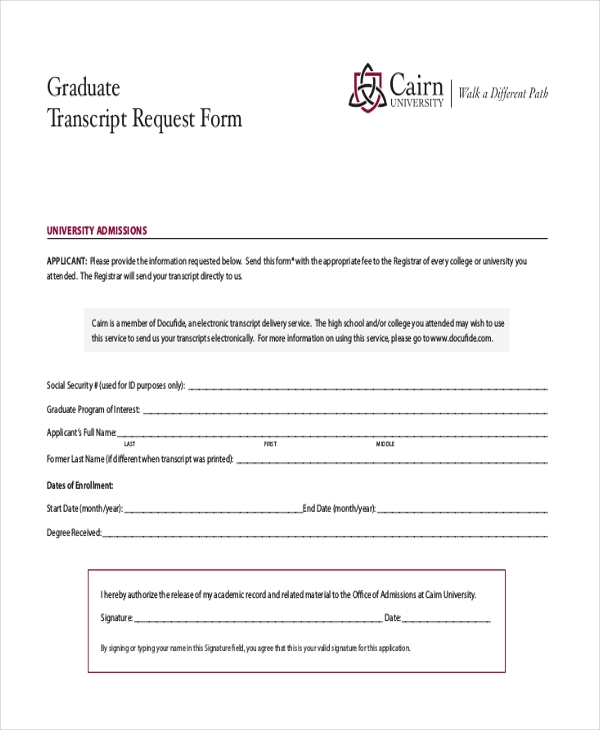graduate transcript request form