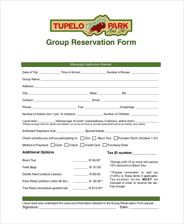 group reservation form