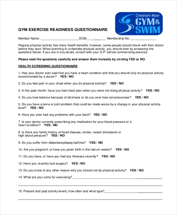 gym questionnaire form