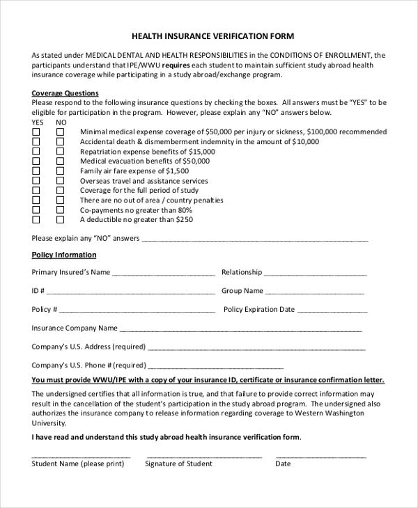 health insurance verification form