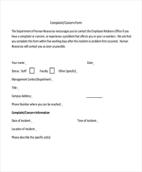 Sample HR Complaint Form 10 Free Documents in Word PDF – Sample Hr Form
