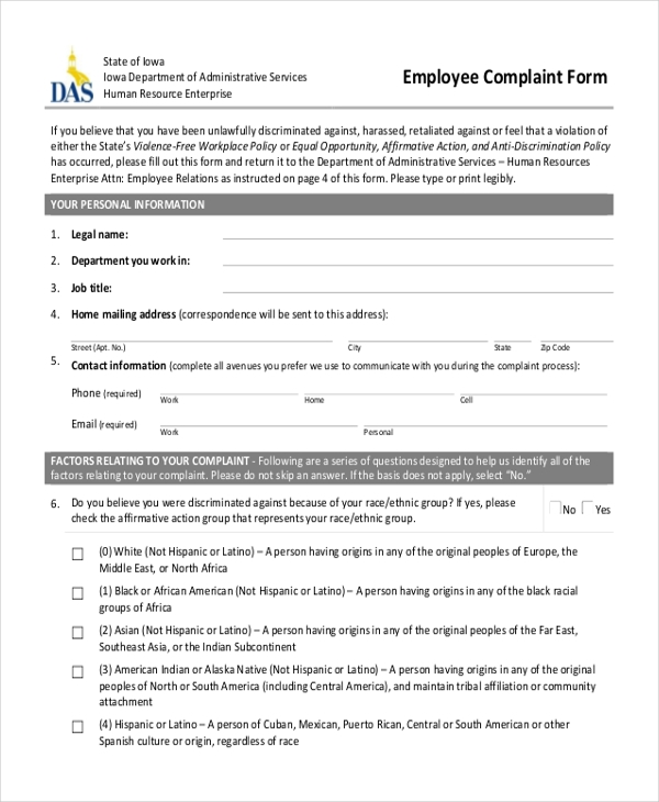Sample HR Complaint Form 10 Free Documents in Word PDF – Employee Complaint Form