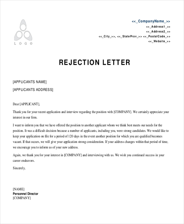 hr rejection letter template
